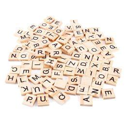 Wholesale Wood Tile Wholesale - 100Pcs 1Pack Wooden Alphabet Scrabble Tiles Black Letters & Numbers For Crafts Wood Board Games Crafts Wholesale