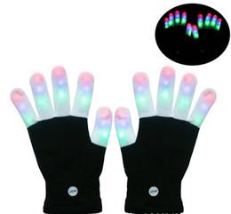 Wholesale White Rave Gloves - LED Rave Gloves Mitts Flashing Finger Lighting Glove LED Colorful 7 Colors Light Show Black and White LLFA
