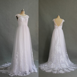 Wholesale Empire Sweet 16 Dress - Stunning High Quality Beach Wedding Dress Country Style Sexy Open Back Tulle Bridal Gowns with Lace Appliques Sweet Train Bow Sash