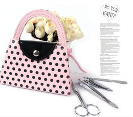 Wholesale Bridal Presents - 50PCS LOT Pink Polka Dot Purse Manicure Set favor Novelty Wedding Bridal Shower Valentine's Day Gift Party Favors Present