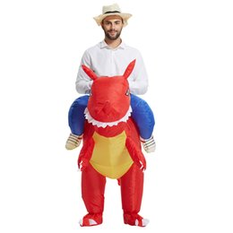 Wholesale Dinosaur Costume For Kids - high quality Inflatable Dinosaur Costumes for Adults Kids Dinosaur Rider Airblown Outfit Men Women Party Halloween Fancy