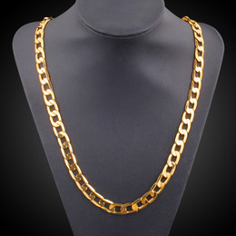 "Wholesale Chunky Gold Plated Chain - 18K Real Gold Plated Necklace With ""18K"" Stamp Men Jewelry Wholesale New Trendy Chunky Snake Chain Necklace 24''"