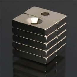 Wholesale Neodymium Magnets Holes - 10pcs N35 20x10x4mm 4mm Hole Super Strong Block Magnets Rare Earth Neodymium Magnets