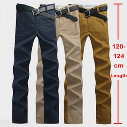 Wholesale Plus Size 28 Khaki - Wholesale- 120cm Extra Long Mens Chinos Pants Plus Size 28~44 Mens Casual Pants Slim Straight Stonewash Male Twill Trousers Khaki Navy 812
