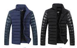 Wholesale Blue Down Coat Leather - New Winter Men Jackets Men's Coat Fashion Leather Sleeve Spliced Design Outwear Down Cotton Padded Jacket Men Asian M-5XL