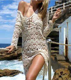 Wholesale Ladies Ivory Suits - Sexy Beach Cover up Crochet White Swimwear Dress Ladies Bathing Suit Cover ups Beach Tunic Saida de Praia