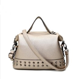 Wholesale Motorcycle Top Bags - Wholesale- 2016 Hot Sale Rivet Women Famous Brand Handbag Female Leather Bags Ladies Top-Handle Bag Motorcycle Tote Bag Sac A Main Bolsas