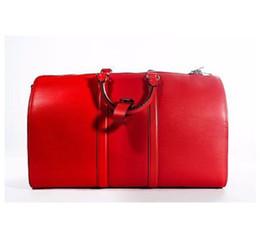 Wholesale New Style Luggage - Genuine Leather new fashion men women travel bag SUPREM duffle bag, brand designer luggage handbags large capacity sport bag 45CM