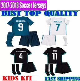 Wholesale Cotton Kit - 17 18 real madrid kids kit JERSEYS SOCCER ASENSIO ronaldo 2017 2018 camiseta de fútbol bale MODRIC SERGIO RAMOS child FOOTBALL SHIRTS