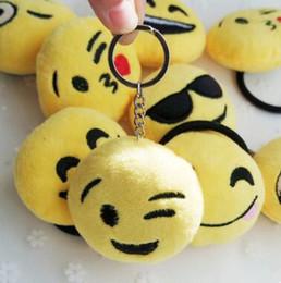 sacs d'émotion Promotion Nouveaux porte-clés 6cm Emoji Smiley Petit pendentif Émotion Jaune QQ Expression Farce en peluche poupée pendentif sac de jouet pour 2017 cadeau de Noël