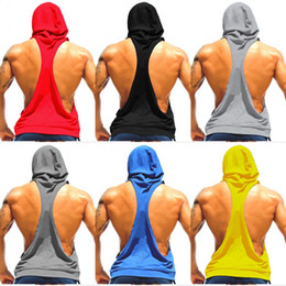 Wholesale Men Solid Tank - Men Vest Hoodies Cottone Stringer Blank Bodybuilding Hoodies Sleeveless Sport Undershirt For Men Gym Fitness Tank Tops Free Shipping MY9022