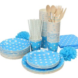 Wholesale White Paper Straw - Wholesale-Promotion Lt.Blue & White Polka Dots Tableware Party paper plate cups napkins paper straw Cutlery Set Knives Forks Spoons