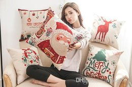 Wholesale Tree Cushion Covers - Christmas pillow case Christmas tree Santa Claus deer elk cotton linen throw pillow cushion cover pillow cover wholesale.