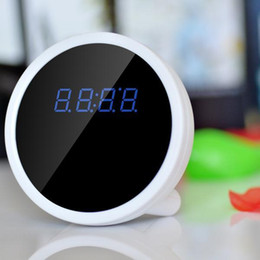 Fotocamera p2p indoor online-Full HD P2P WiFi Mini Alarm Clock Camera con rilevazione di movimento a infrarossi Night Vision 1080P Indoor Home Security Camera Video Recorder bianco