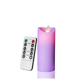 Wholesale purple flameless candles - 10 Keys Remote Control Battery Power Smokeless Dancing Flame Candles, Thin Pillar Wax Candles with Moving Wick (Purple, 5.5X12cm)