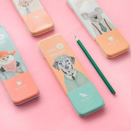 Wholesale Wholesale Cartoon Tin Boxes - Wholesale- 1 x personality Cartoon animal Pencil case box Tin box Pen Case School children gift stationery Free shipping