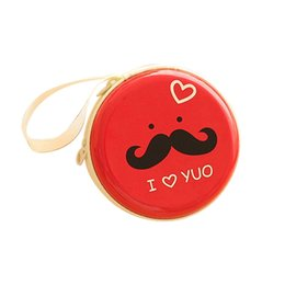 Wholesale Mustache Coin Purse - Wholesale- Coin Purses Women Purse for Coins Children's Wallet Kids Wallets 2016 Round Mustache Earphone Key Case Zip Storage Bag 9IFA