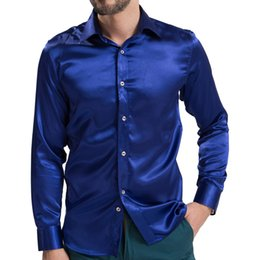 Venta al por mayor- 2016 Satén material liso Hombres Sólido camisa de esmoquin BusinessFashion Poliéster camisa de seda de los hombres Casual Slim Chemise Homme T038 desde fabricantes