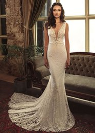 Wholesale Cheap Embroidery Wedding Dresses - Alluring 2017 Beaded Embroidery Lace Mermaid Wedding Dresses V-Neck Sleeveless Backless Wedding Gowns Cheap Bridal Gowns