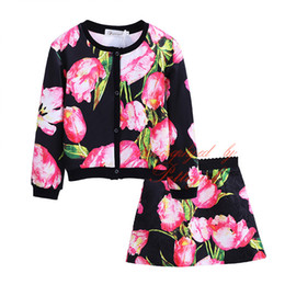 Wholesale Pink Lolita Coat - Pettigirl Girls Casual Clothing Sets Pink Flower Daughter Outfit Single Breasted Coat And Skirts Children Clothing G-DMCS908-968