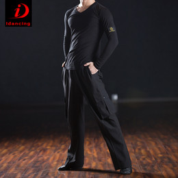 Wholesale Latin Dance Men - Latin dance adult men's shirt performance V collar long sleeved shirts