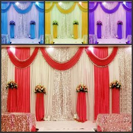 Wholesale Background Backdrop 3m - New Arrival 3m*6m wedding backdrop swag Party Curtain Celebration Stage Performance Background Drape With Beads Sequins Edge