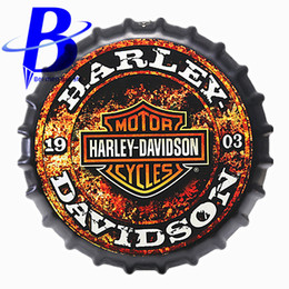 Wholesale Bottle Cap Art - Wholesale- 35cm Harley Motor Cycles Round Bottle Cap Tin Signs Art Wall Decor House Cafe Bar Vintage Metal Signs