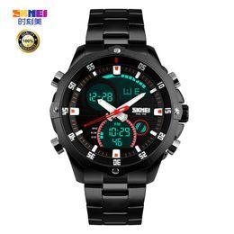 Wholesale Digital Watc - Luxury Watch Men Full Steel Military Fashion Casual Watch Waterproof Men Sport Watches Dual Movement Digital LED Calendar Alarm Digital-watc