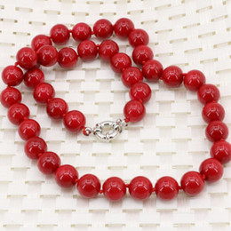 tibet coral beads Promo Codes - Free delivery Fashion statement artificial coral red stone round 10mm beads necklace for women chain choker clavicle diy jewelry
