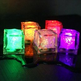 Wholesale Wine Glass Supplies - LED Ice Cubes Party Decoration Water Sensor Sparkling Luminous Artificial Glowing Drinkable Light Wedding Bar Flash Wine Glass Cup