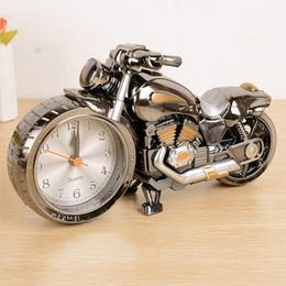 Wholesale Motorbike Alarm Clock - Creative Quality Motorcycle Clock Motorbike Pattern Alarm Desk Clocks Vintage Desktop Watches Xmas Christmas Festival Decor Gift