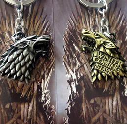Jogo tronos anéis correntes on-line-Novo 1 Pcs Game of Thrones Casa Stark Logotipo Chaveiro de Metal 3D Stereo Anel Chave Escudo Rotate Presentes Do Partido Frete grátis