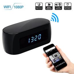 Wholesale Nanny Camera Hidden - 16GB Memory 1920*1080P Full HD WIFI Hidden Clock Camera, HD 1080P Nanny Cam Wireless IPCAM Motion Activated Spy Security Camera PQ283