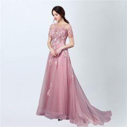 Wholesale Lavender Long Sleeved Evening Gowns - Evening Dresses Vestidos De Festa Longo Sale 2017 Illusion Cap Sleeved Prom Dresses Long Party Gowns