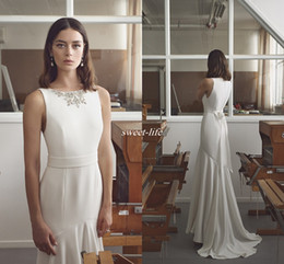 Wholesale Garden Hod - New 2017 Lihi Hod Mermaid Wedding Dresses Beads Jewel Neck Trumpet Cheap Bridal Gowns Sweep Train Satin Wedding Dress Short Front Long Back