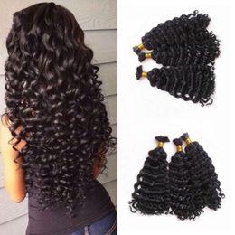Wholesale Deep Hair Braiding - Peruvian Human Hair Deep Wave Bulk Hair Bundles 3 Pieces Curly Human Braiding Hair Bulk No Weft G-EASY