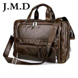 Wholesale big computer bag - Wholesale- J.M.D 100% Genuine Vintage Leather Men's Briefcase Laptop Bag Big Size Hand Business Bag Coffee 7289
