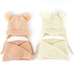 Wholesale Children Handmade Scarf - Children Scarf Childrens Baby Hat Scarf Two Suits Baby Woven Knitted Hat Handmade Knit Crochet Baby Girl Hockey Hat