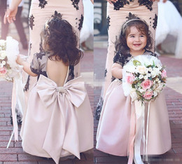 Wholesale Cheap Pageant Dresses For Infants - Lovely Baby Flower Girl Dresses for Wedding Black Lace with Big Bow Blush Satin Bow Beaded 2017 Cheap Toddler Infant Girls Pageant Dresses