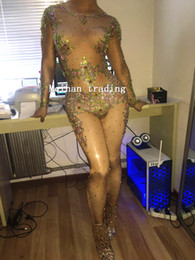 Wholesale Zebra Jumpsuit Women - Big Crystals Colorful Beyonc Jumpsuit Women's sexy Prom Costume Stage Wear Bodysuit Female Singer Rhinestones Nude Skinny Outfit