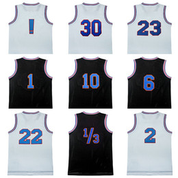 Wholesale Brown Movies - 100% Stitched Movie Space Jam Tune Squad Tweety Lola Bugs Taz duck Jersey Men 23 30 6 1 2 1 3 10 22 Jersey Black white Embroidery shirt