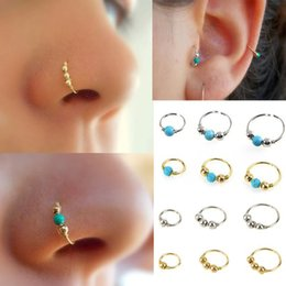 Wholesale Gold Hoop Earrings Jewelry - Stainless Steel Nose Ring Turquoise Nostril Hoop Nose Earring Piercing Jewelry