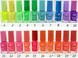Wholesale Designer Nail Polish - BK Brand 40 Bottles Candies Color Fluorescent Luminous Neon Glow In Dark Varnish BK Nail Art Polish designer