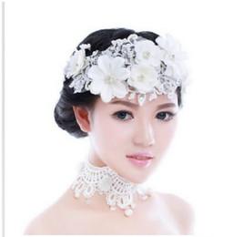 Canada XA06 mariée à la main en dentelle blanche coiffure fleur fleur mariée coréenne diamant mariage coiffure longueur 36 * 11.5 cm supplier korean handmade lace Offre