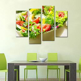 Wholesale Kitchen Fruit Wall Decor - 4 Panels Vegetable Paintings Wall Art Salad Vegetable and Fruit Picture Print On Canvas for Restaurant Kitchen Decor Wooden Framed to Hang