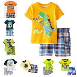 Wholesale Long Sleeve Shirts For Kids - Baby Pajamas Summer Boys Pajamas Short Sleeve Cotton Pajamas Shirt+Short Pants 2PCS Sets Children Homewear Kids Sleepwear Suit For 1~6 Y