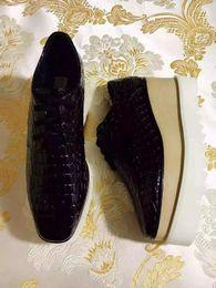 Wholesale Platform Shoes 41 - Cheap Stella Mccartney Black Genuine Leather Women Platform Shoes Lace Up Low Top Size EU34-41