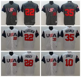 Wholesale Adam Jones Jersey - 2017 World USA Baseball Jerseys American Classic 22 Andrew McCutchen 28 Buster Posey 35 Eric Hosmer 27 Giancarlo Stanton 10 Adam Jones