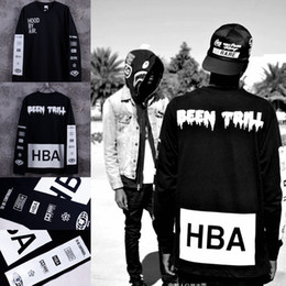 Wholesale Chinese Fashion T Shirt - Free shipping fashion hip hop Long sleeve shirt Hood By Air HBA X Been Trill Kanye West t shirt HBA tee shirt 100% cotton Chinese Size S-XXL