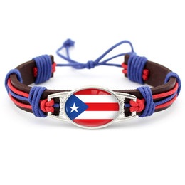 Wholesale Silver Connectors For Jewelry - ANTIQUE Silver Tibetan Connector Charm Adjustable Leather Cuff Bracelets For Women Men Flag of Puerto Rico Punk Friendship Jewelry